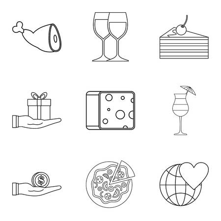 Carefully icons set. Outline set of 9 carefully vector icons for web isolated on white background Stock Illustratie