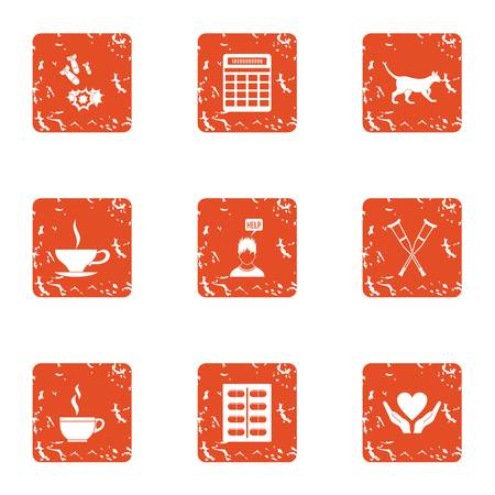 Post war assistance icons set. Grunge set of 9 post war assistance vector icons for web isolated on white background