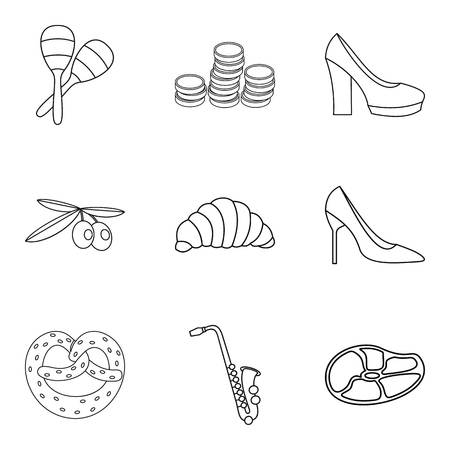 Faithfully icons set. Outline set of 9 faithfully vector icons for web isolated on white background