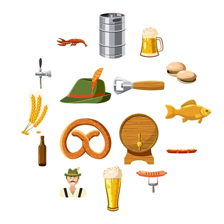 Oktoberfest icons set in cartoon style. Germany fest set collection vector illustration
