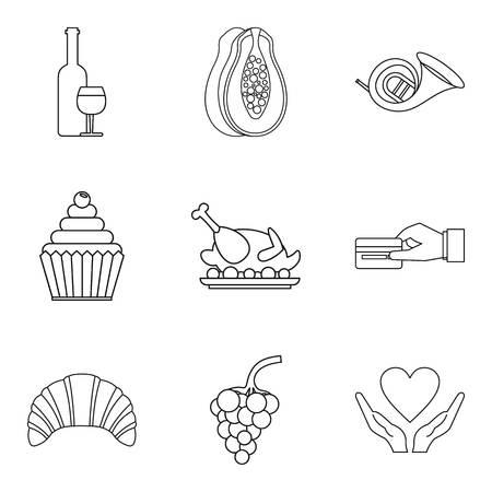 Love celebration icons set. Outline set of 9 love celebration vector icons for web isolated on white background