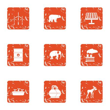 Chemical factory icons set. Grunge set of 9 chemical factory vector icons for web isolated on white background Illustration