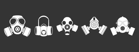 Gas mask icon set vector white isolated on gray background