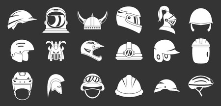 Helmet icon set vector white isolated on grey background