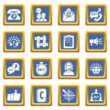 Call center icons set vector blue square isolated on white background