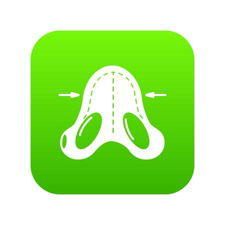 Nose reduction icon green vector isolated on white background