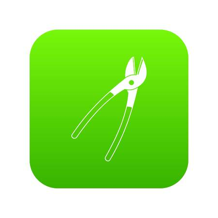 Metal shears icon digital green for any design isolated on white vector illustration