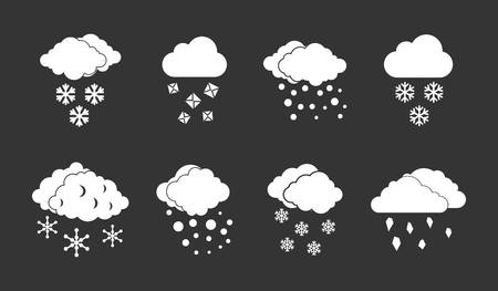 Snow cloud icon set vector white isolated on grey background