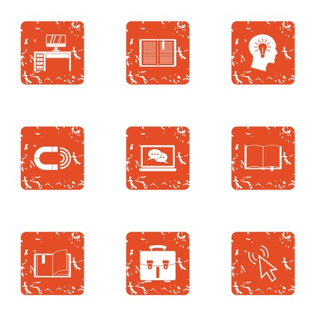 Place of genius icons set. Grunge set of 9 place of genius vector icons for web isolated on white background