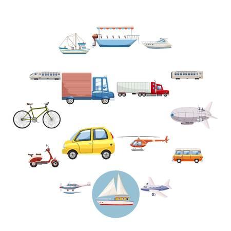 Jeu d'icônes de transport. Illustration de contour de 16 icônes vectorielles de transport pour le web Vecteurs