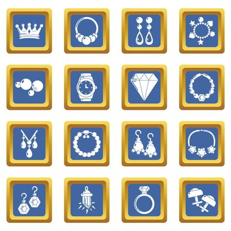 Jewelry shop icons set vector blue square isolated on white background