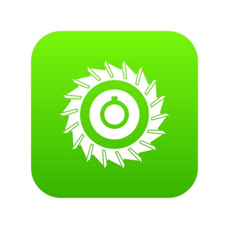 Circular saw disk icon digital green for any design isolated on white vector illustration