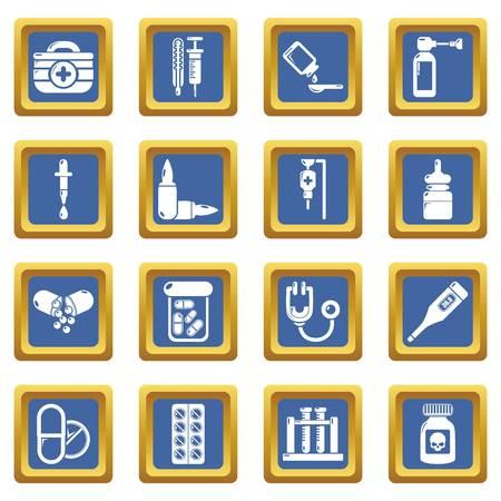 Drug medicine icons set vector blue square isolated on white background