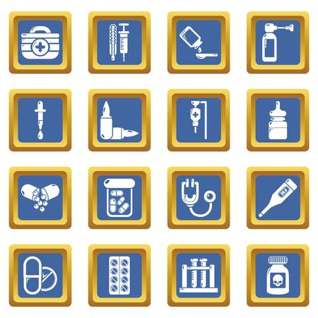 Drug medicine icons set vector blue square isolated on white background