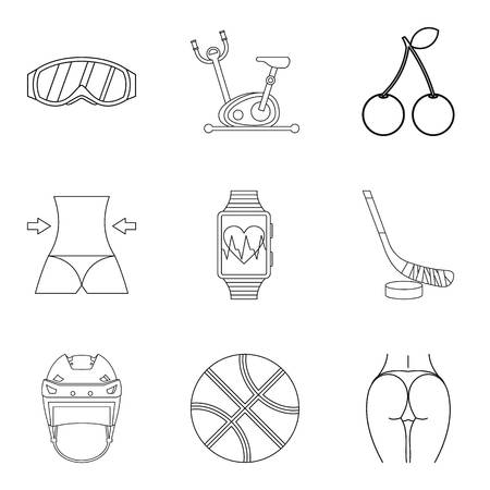Well again icons set. Outline set of 9 well again vector icons for web isolated on white background Foto de archivo - 100255757