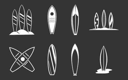 Surf board icon set vector white isolated on grey background