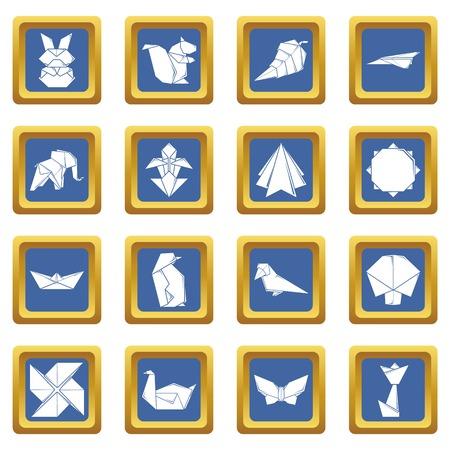 Origami icons set vector blue square isolated on white background  Ilustracja