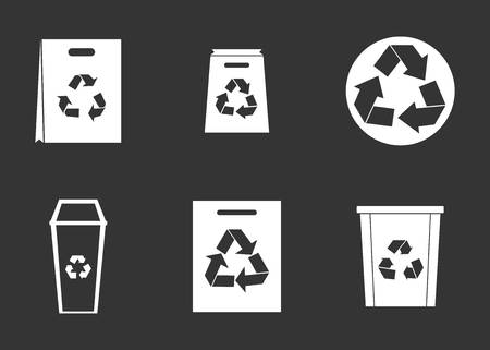 Recycle material icon set vector white isolated on grey background  Stock Illustratie