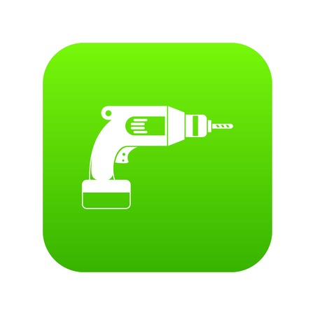 Drill icon digital green for any design isolated on white vector illustration