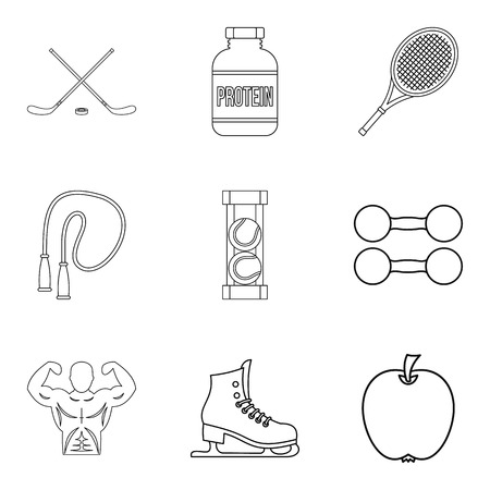 Get well icons set. Outline set of 9 get well vector icons for web isolated on white background Foto de archivo - 100257939