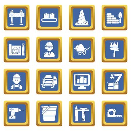 Building process icons set vector blue square isolated on white background