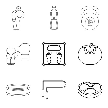 Recuperate icons set. Outline set of 9 recuperate vector icons for web isolated on white background