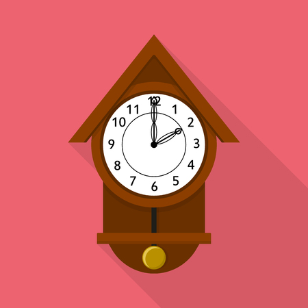 Cuckoo clock icon. Flat illustration of cuckoo clock vector icon for web Ilustracja