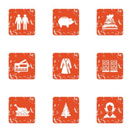 Holiday year icons set. Grunge set of holiday year vector icons for web isolated on white background 일러스트