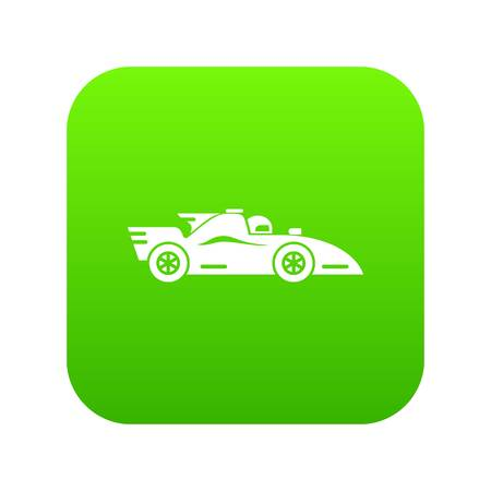 Racing car icon green vector isolated on white background Illustration