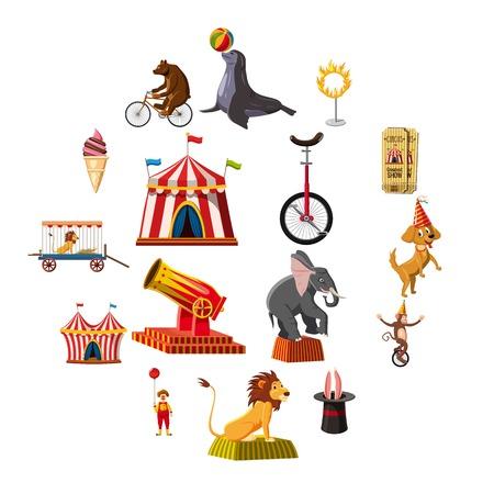 Circus symbols icons set. Cartoon illustration of 16 circus symbols vector icons for web Illustration