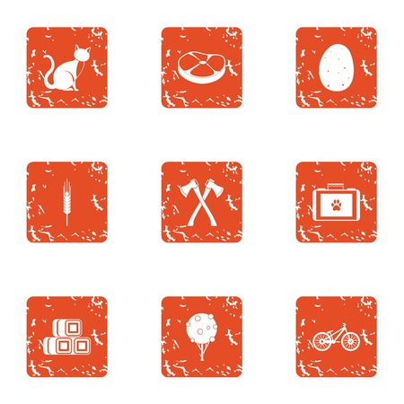 Favorite pet icons set. Grunge set of favorite pet vector icons for web isolated on white background