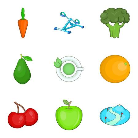 Withstand icons set. Cartoon set of 9 withstand vector icons for web isolated on white background Ilustração