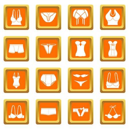Underwear icons set vector orange square isolated on white background Stock Illustratie