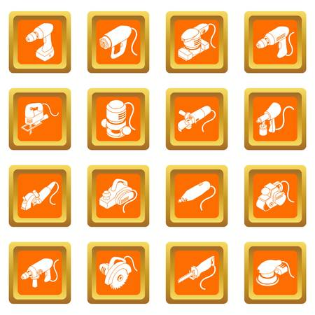 Electric tools icons set vector orange square isolated on white background Illustration