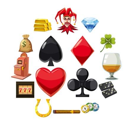 Casino icons set items symbols. Cartoon illustration of 16 casino vector icons for web