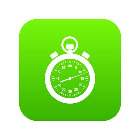 Stopwatch icon green vector isolated on white background.