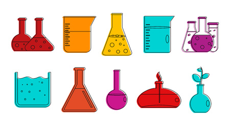 Chemical pots icon set. Color outline set of chemical pots vector icons for web design isolated on white background