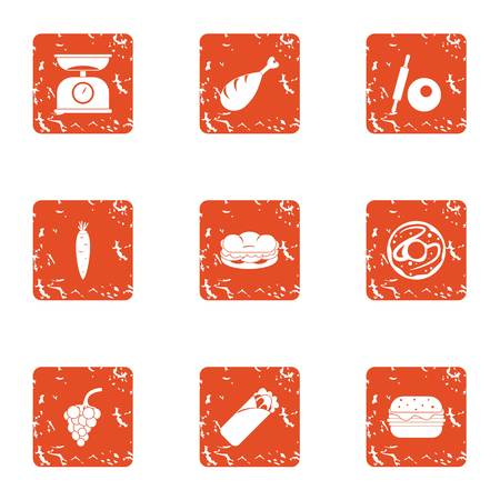 Measure food icons set. Grunge set of 9 measure food vector icons for web isolated on white background
