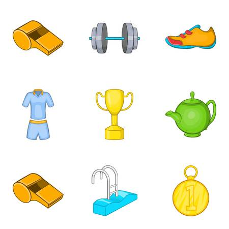 Health affluence icons set. Cartoon set of health  vector icons for web isolated on white background