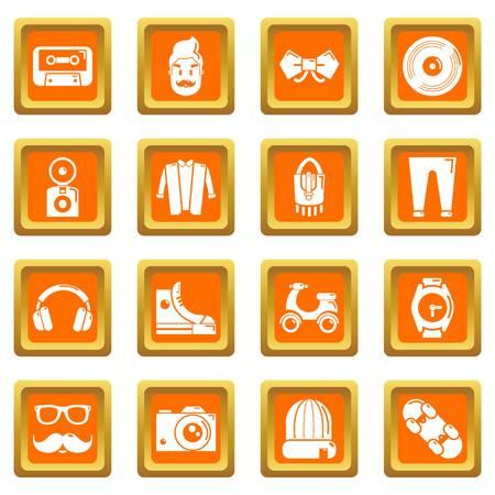 Hipster symbols icons set vector orange square isolated on white background  Illusztráció