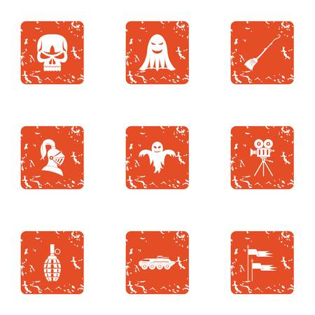 Terrible movie icons set. Grunge set of 9 terrible movie vector icons for web isolated on white background Stock Photo