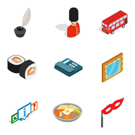 State of affairs icons set. Isometric set of 9 state of affairs vector icons for web isolated on white background Banco de Imagens