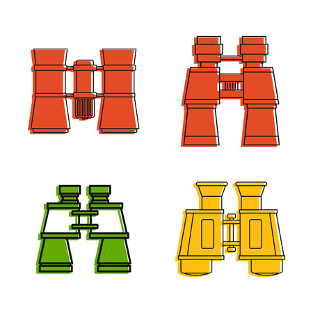 Binocular icon set. Color outline set of binocular vector icons for web design isolated on white background