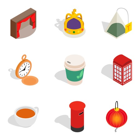 Set of 9 isometric icons on white background