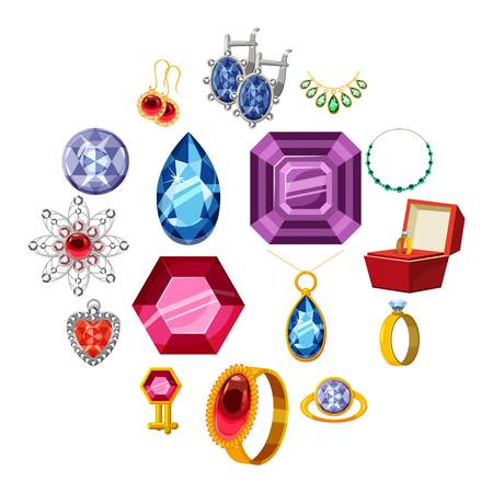Jewelry collection icons set.