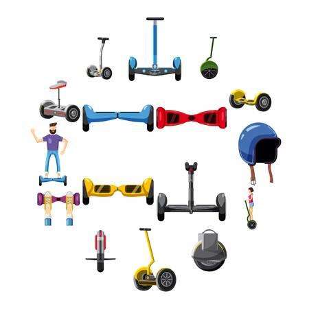 Scooter balance icons set. Cartoon illustration of 16 scooter balance vector icons for web Illustration