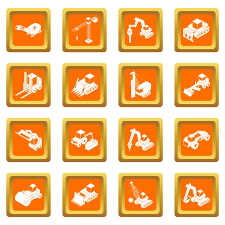 Building materials icons set vector orange square isolated on white background