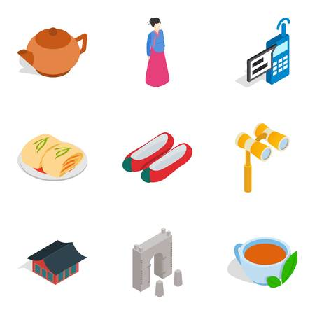 General improvement icons set. Isometric set of 9 general improvement vector icons for web isolated on white background Illustration