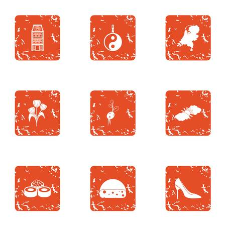 Asian urban icons set. Grunge set of 9 asian urban vector icons for web isolated on white background 版權商用圖片 - 100310653