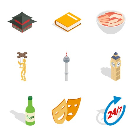 Hearty meal icons set. Isometric set of 9 hearty meal vector icons for web isolated on white background